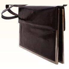 Vintage 1960s Charles Jourdan Leather & Chrome Handbag Purse
