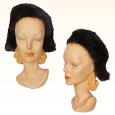 Vintage Mink Fur & Silk Hat by Yvette Brillon Montreal