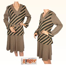 Vintage Mary Quant Knit Skirt & Blouse Set 1960s Ginger Group 2 Piece Ensemble Size M