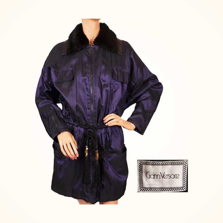 46a7fcc6 Vintage 90s Gianni Versace Jacket Coat - Purple Silk and Wool - Size S / M