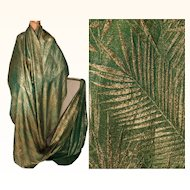 """Vintage Gold Lamé Green Silk Sewing Fabric 1920s Art Deco Lame Material 40"""" - 1 yard"""