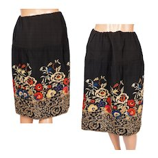 Vintage 1920s Silk Skirt with Art Deco Floral Embroidery Size S / M / L - Red Tag Sale Item