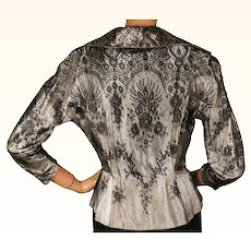 1950s Black Chantilly Lace & White Satin Blouse - S