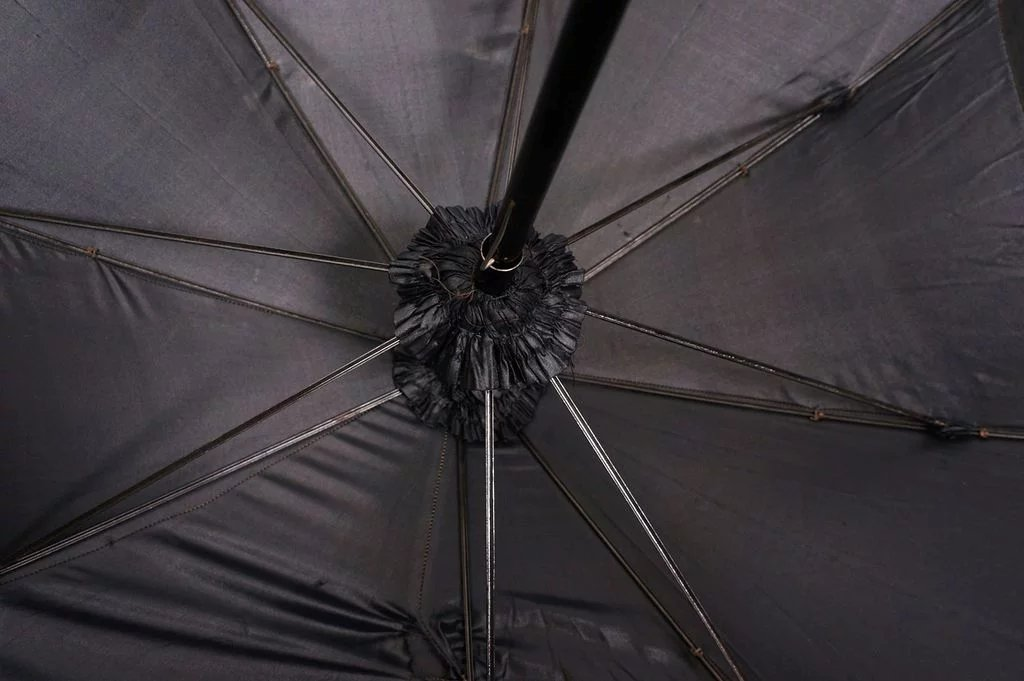 Antique Victorian Mourning Parasol with Black Chantilly ...