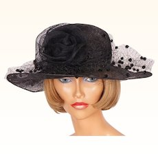 1990s Black Sinamay Straw Hat Wide Brim