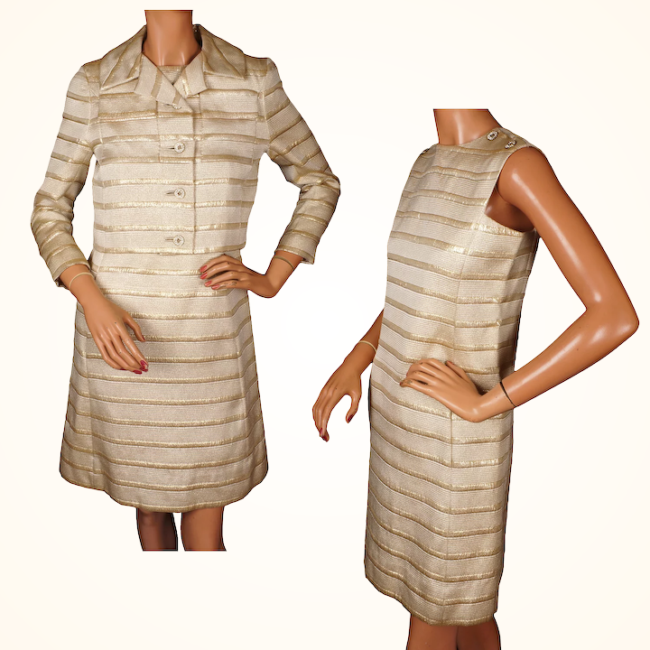 b1e30ee8b1 Vintage 1960s Striped Gold Brocade Dress with Jacket Gino Charles S / :  Poppy's Vintage Clothing | Ruby Lane
