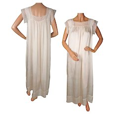 Antique Nightgown Silk and Lace Edwardian Era Nightie