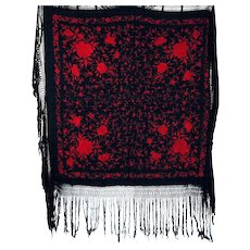 Vintage 1920s Chinese Canton Silk Black and Red Embroidered Shawl