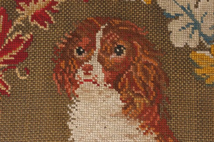 Antique Dog Needlepoint Chair Seat Cover Cavalier King Charles Spaniel Large