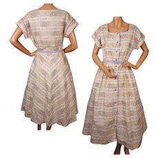Vintage 1950s Cotton Day Dress w Floral Print - NOS -New Old Stock - L