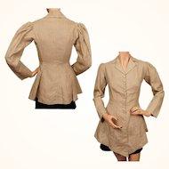 Antique Edwardian Era Linen Jacket Riding Style - S