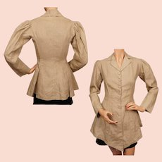 Antique Edwardian Era Linen Jacket Riding Style - S