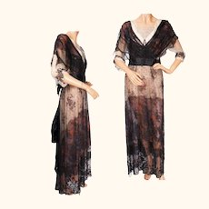 Antique Titanic Era Dress Beaded Lace Formal Evening Gown 1912 Size M