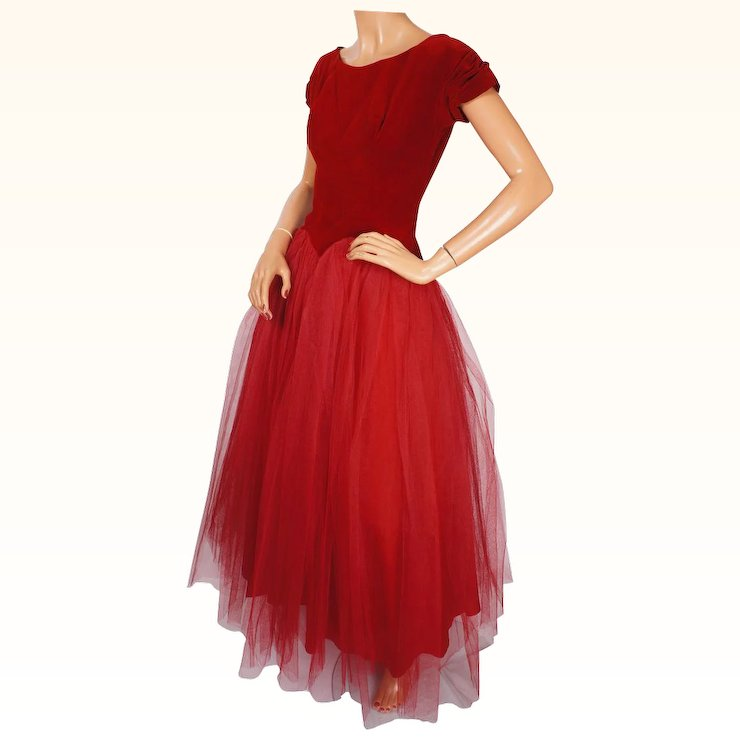 Vintage 1950s Red Tulle Ball Gown Prom Dress Size S M