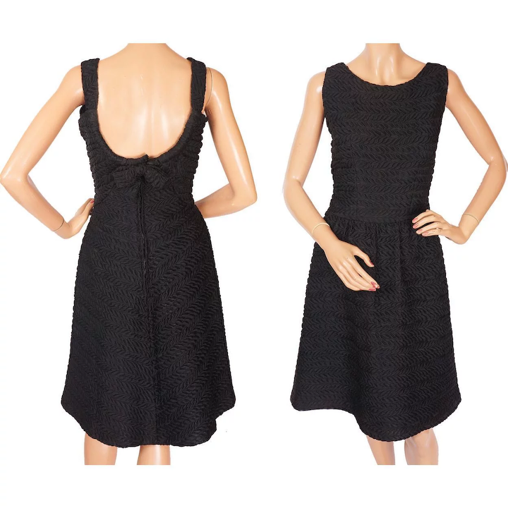 2afaa4d73b2a8 RESERVED - Vintage Givenchy 1960s Haute Couture Black Cocktail Silk Dress  Size M
