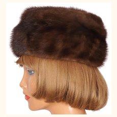Vintage 1960s Brown Mink Fur Hat Ladies Size M