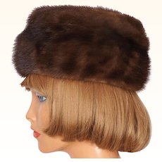 Vintage 60s Ladies Karakul Shape Brown Mink Fur Hat Ladies Size M