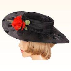 Vintage 80s Wide Brim Black Polka Dot Hat with Red Rose Ladies Size S M
