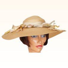 Vintage 1940s Wide Brim Straw Hat Ladies Size S M