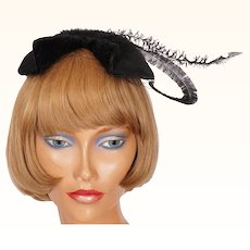 Vintage 1950s Black Cocktail Hat Lord & Taylor Ladies Size S M
