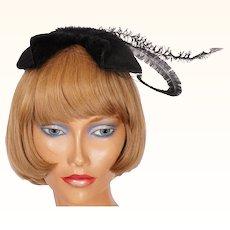 Vintage 1950s Black Cocktail Hat Lord & Taylor Ladies Size S M