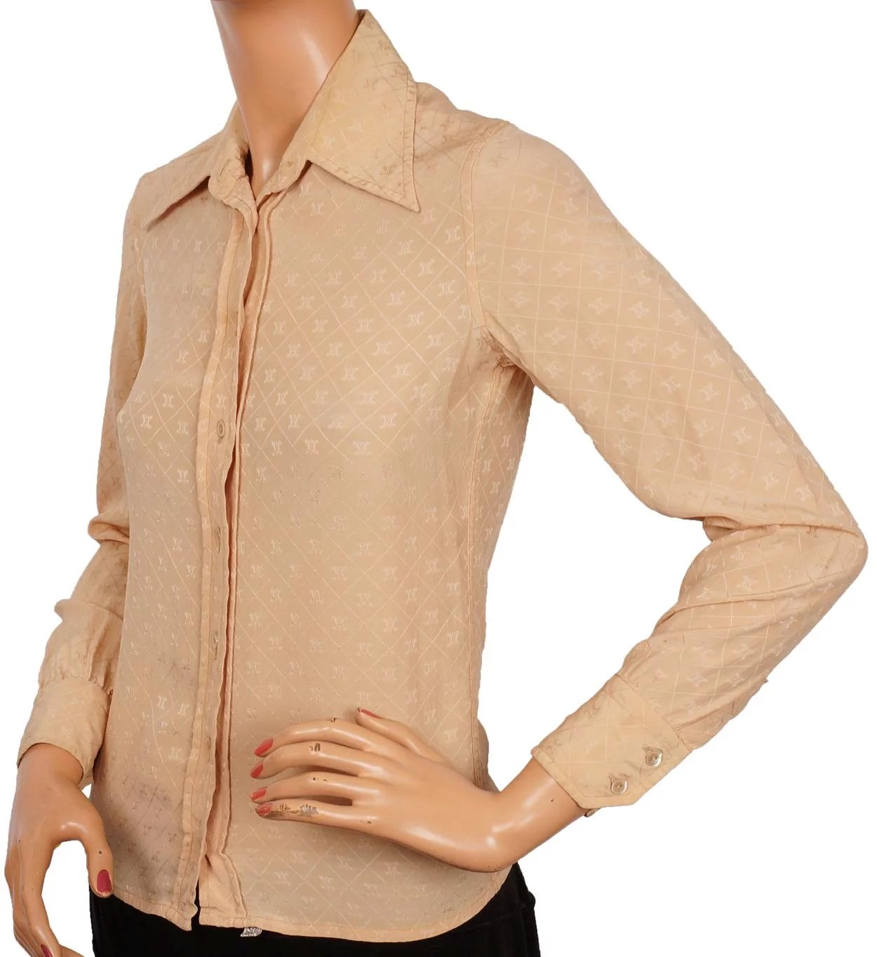 0a3d77fef8385f Vintage 70s Celine Paris Silk Shirt Blouse Woven Logo Ladies Size S M 8.  Click to expand