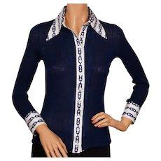 Vintage 1970s Celine Paris Cotton Sweater Shirt Blouse Horsebit Logo -  S