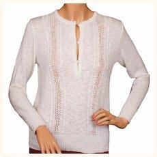 Vintage 1970s Courreges White Sweater Blouse Acrylic Knit Ladies Size S