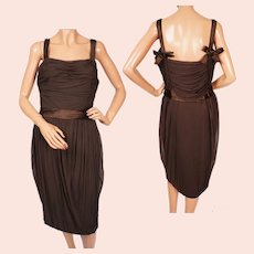 Vintage 1950s Christian Dior Cocktail Party Dress Brown Silk Chiffon - M