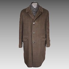 Vintage 60s Wool Mens Coat Tattersall Check Pattern Eaton's of Canada Atomic Label Size L
