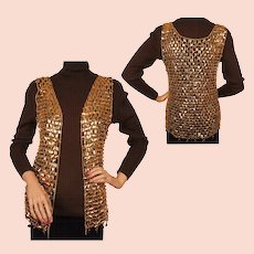 Vintage 1960s Paco Rabanne Gold Mylar Disc Chainmail Vest Size S / M