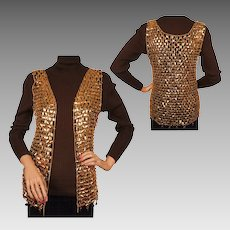 Vintage 60s Paco Rabanne Gold Mylar Disc Chain Mail Vest Size S / M