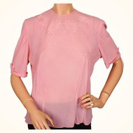 Vintage 50s Pink Silk Chiffon Blouse Hand Made in Vienna Size L 46