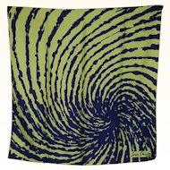 Vintage 60s Jean Desses Paris Abstract Psychedelic Design Silk Scarf