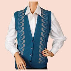 Vintage 1980s Vest Jaeger Blue Wool  - Ladies - 34