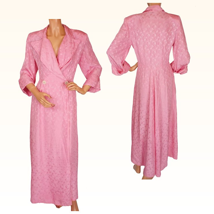 Vintage Pink Silk Dressing Gown 1950s Robe or Hostess Dress Ladies ...