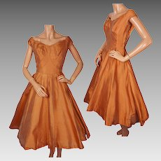 Vintage Ceil Chapman Orange Silk Taffeta Party Dress 1950s Size S