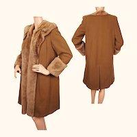 Vintage 1940s Swing Era Coat Brown Wool with Shearling Lamb Trim Ladies Size M