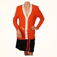 Vintage Lanvin Paris Sweater Orange & White Wool Rib Ladies Size M / L