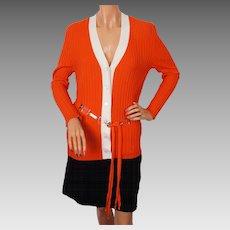 Vintage Lanvin Paris Sweater Orange & White Wool Rib Ladies Size M / L