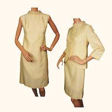 Vintage 60s Yellow Shantung Silk Dress w Jacket By Daymor