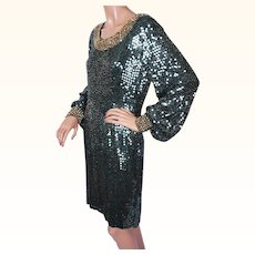 Vintage 80s Green Sequin Beaded Dress Size M