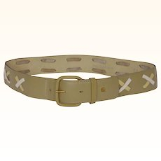 """Vintage 70s Guy Laroche Olive Green Leather Belt Ladies Size S / M 26"""" to 29"""" Waist"""
