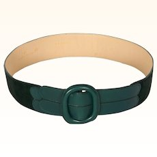 Vintage 70s Valentino Garavani Green Leather & Suede Belt Ladies Size S