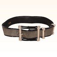 Vintage 80s Escada Gray Suede Leather Belt Ladies Size S