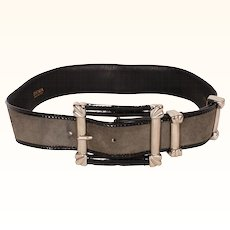 Vintage 80s Escada Gray Suede Leather Belt Ladies Size S