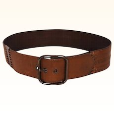 Vintage 80s Brown Leather Belt Ladies Size S M