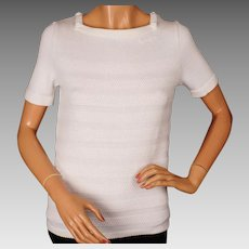 Vintage 1970s Courreges White Pullover Sweater Top Ladies Size S
