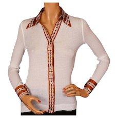Vintage 1970s Celine Cotton Knit Shirt Blouse - S