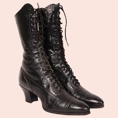Antique Victorian Black Leather Lace Up Boots Ladies Size 7.5 N Width